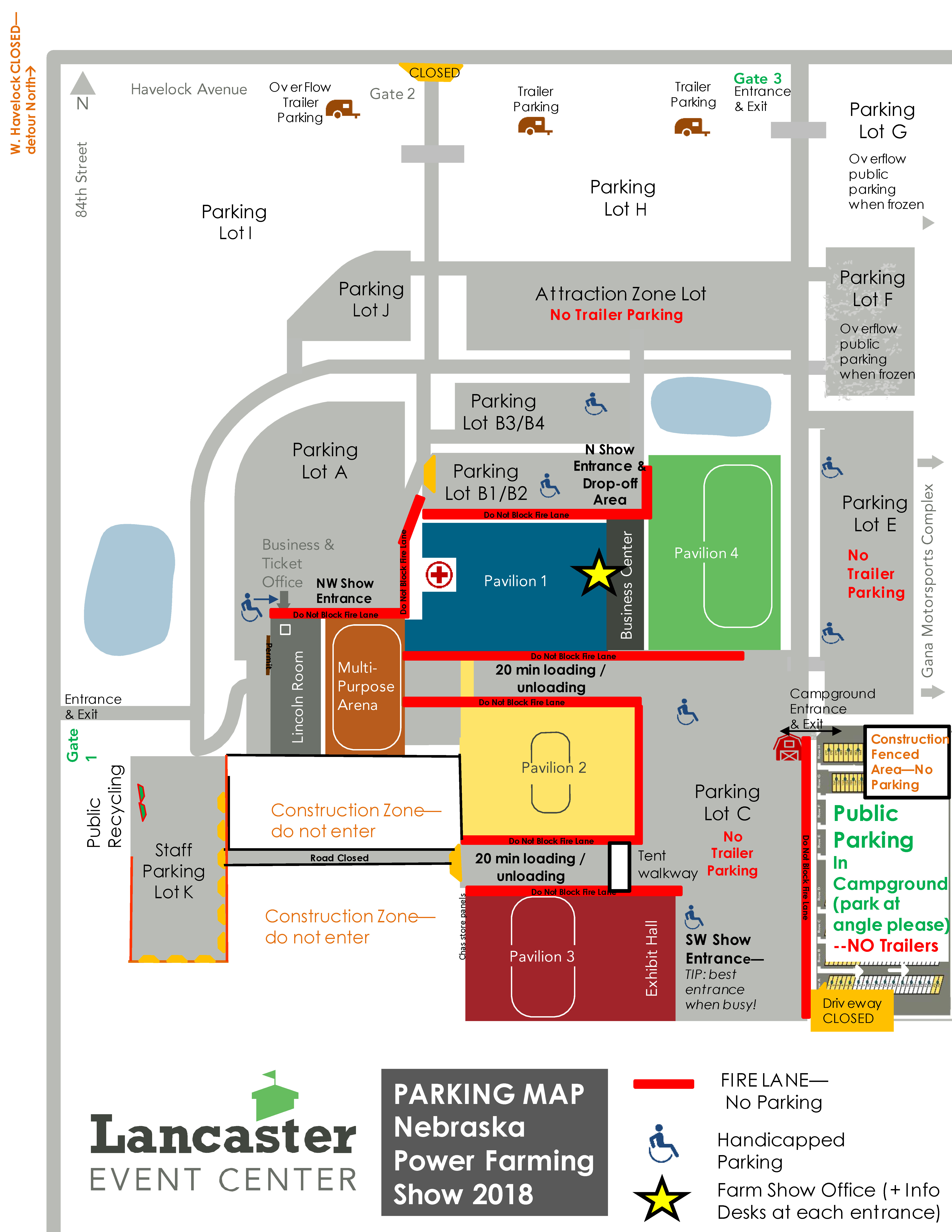 LEC NE Power Farming Show 2018 Public Parking Map